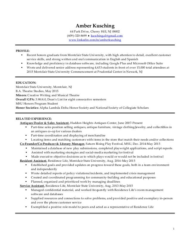 Customer Service Resume. 1 Amber Kusching 44 Park Drive, Cherry Hill, NJ  08002 (609)  ...  Excellent Customer Service Skills Resume