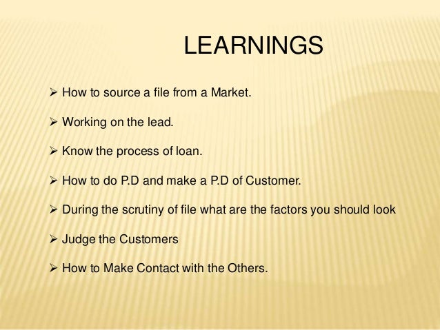 LEARNINGS  How to source a file from a Market.  Working on the lead.  Know the process of loan.  How to do P.D and mak...