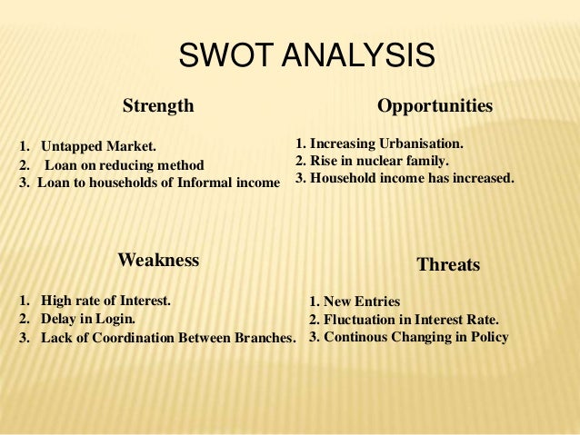 SWOT ANALYSIS Strength 1. Untapped Market. 2. Loan on reducing method 3. Loan to households of Informal income Weakness 1....