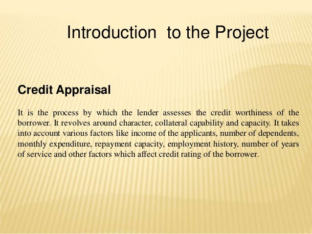 Introduction to the Project Credit Appraisal It is the process by which the lender assesses the credit worthiness of the b...
