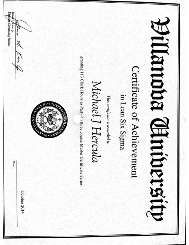 Villanova Online Lean Six Sigma Certificate