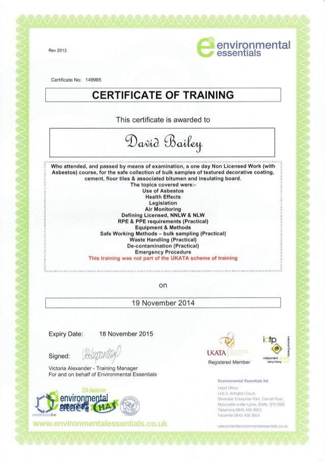 certificate asbestos sampling bulk slideshare upcoming training cb