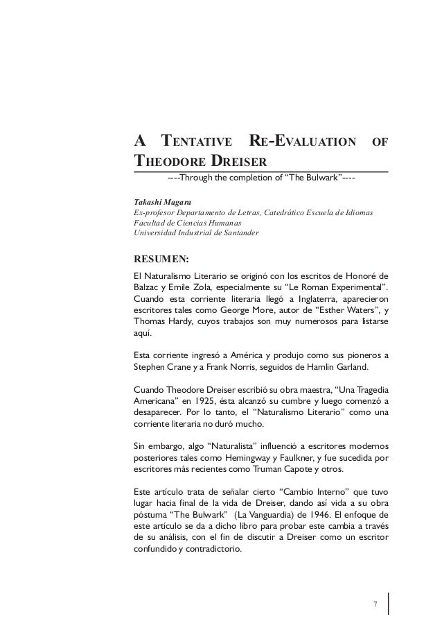 A Tentative Re-Evaluation                                        ofTheodore Dreiser         ----Through the completion of ...