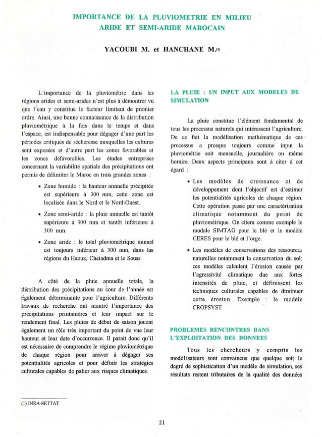 IMPORTANCE DE LA PLUVIOMETRIE EN MILIEUARIDE ET SEMI-ARIDE MAROCAINYACOUBI M. et HANCHANE M.(l)Limportance de la pluviomét...