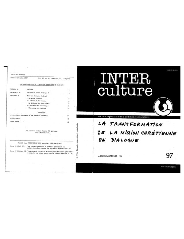 97 la transformation de la mission chrétienne en dialogue. r. panikkar. (document à télécharger en format pdf, 2 mb).
