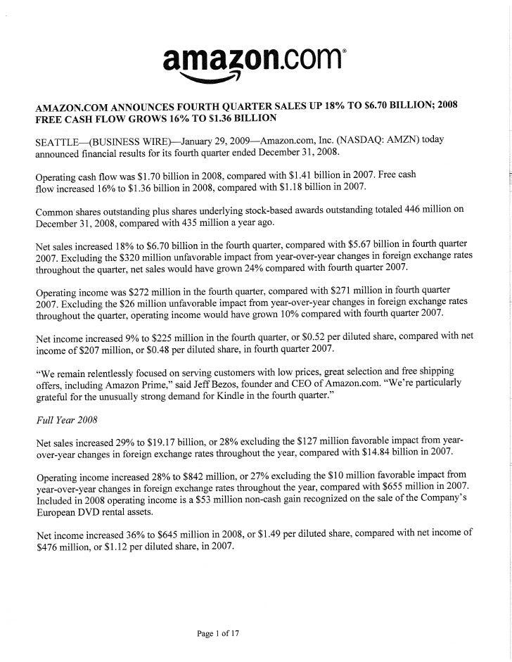Amazon Q4 2008 Financial Results