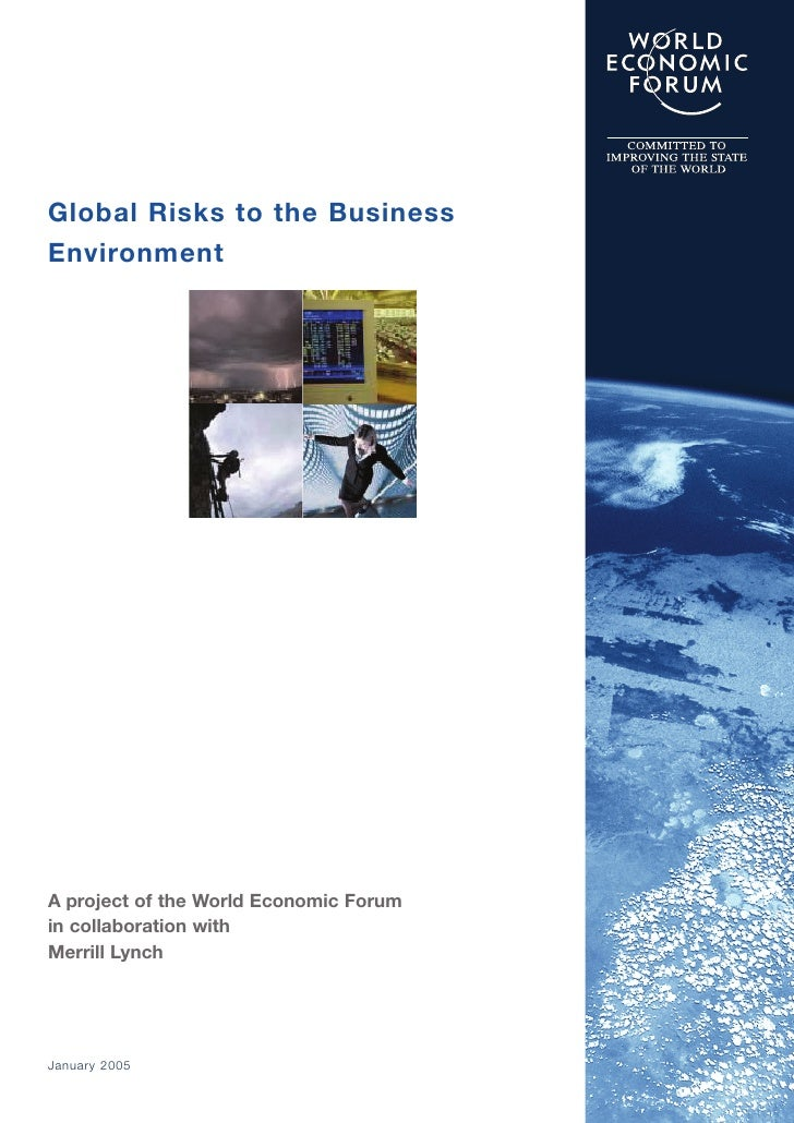 Global Risks to the Business Environment     A project of the World Economic Forum in collaboration with Merrill Lynch    ...