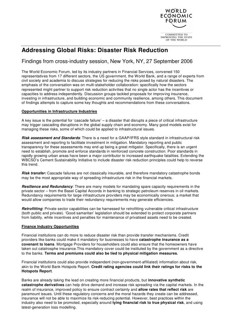 Addressing Global Risks: Disaster Risk Reduction Findings from cross-industry session, New York, NY, 27 September 2006 The...