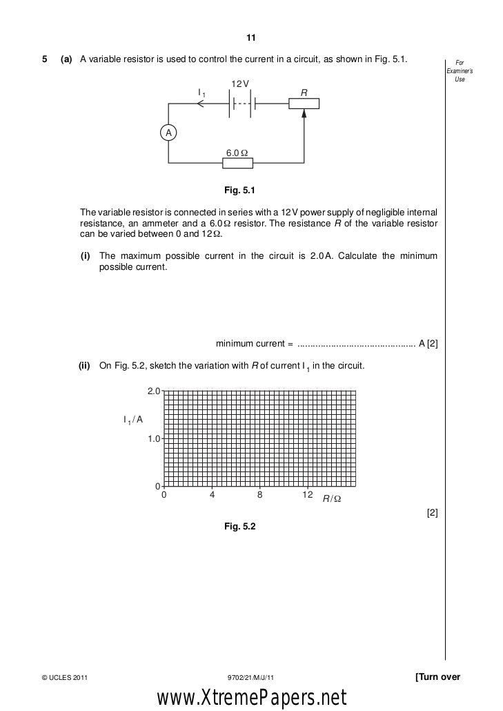 9702 s09 qp 5 Question paper mark scheme principal examiner's report  a1 [5] (answer 269  ± 009 g cm-3 scores 4 marks) 2 (a) ball moving in opposite.
