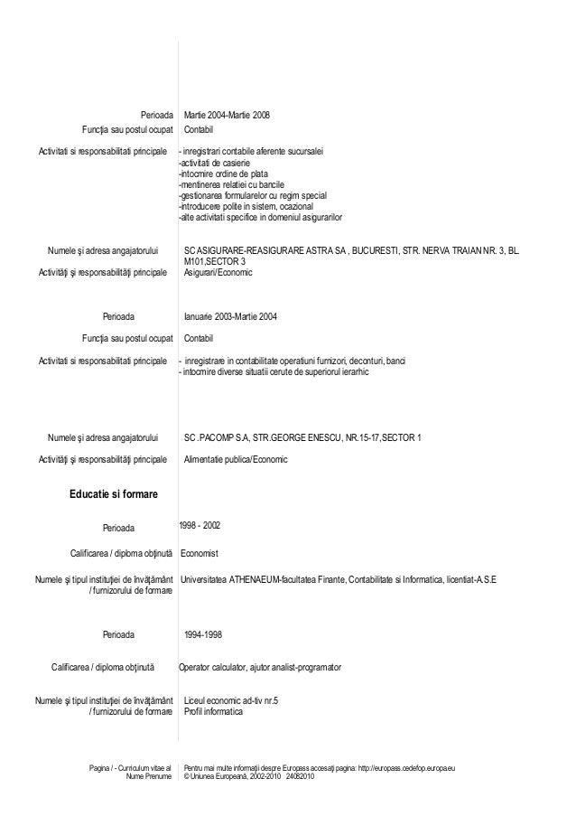 Model cv romana economist choice image certificate design and cv alina 2 model cv engleza completat yelopaper Images