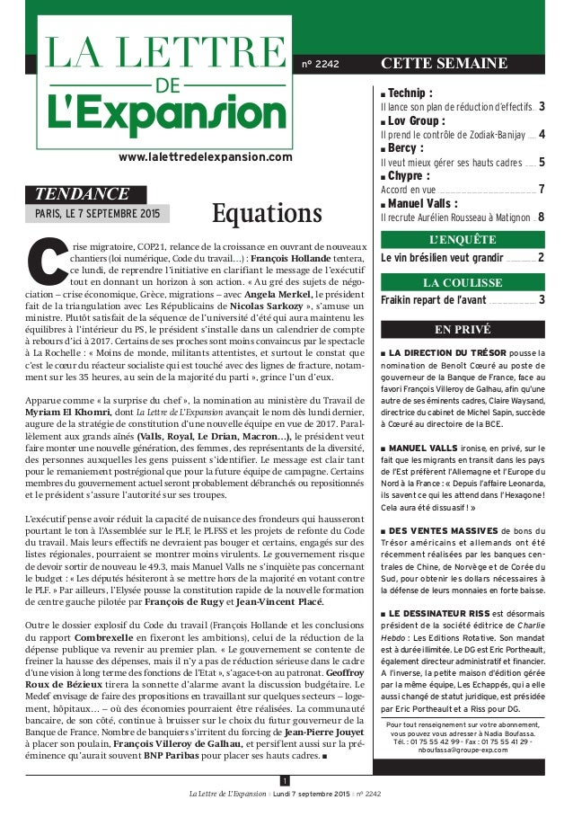 LETTRE DE L'EXPANSION (LA)