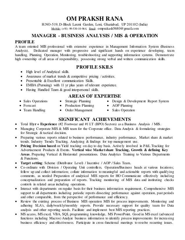 Beautiful Resume MIS Manager. OM PRAKSH RANA H.NO 519, D Block Laxmi Garden, ...  Mis Resume