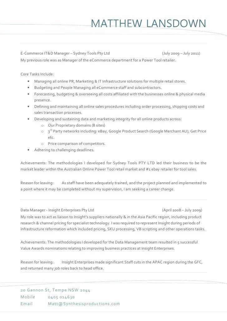 matthew lansdown bar tender resume
