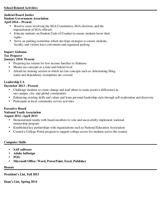 student government resumes