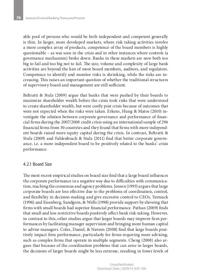 """thesis on corporate governance in banks The research study considered the impact of corporate governance on the performance of banks in bangladesh dear sir, i have completed my thesis report on """"corporate governance and bank performance: a study of selected banks in bangladesh"""" and would like to submit my thesis report as per your."""