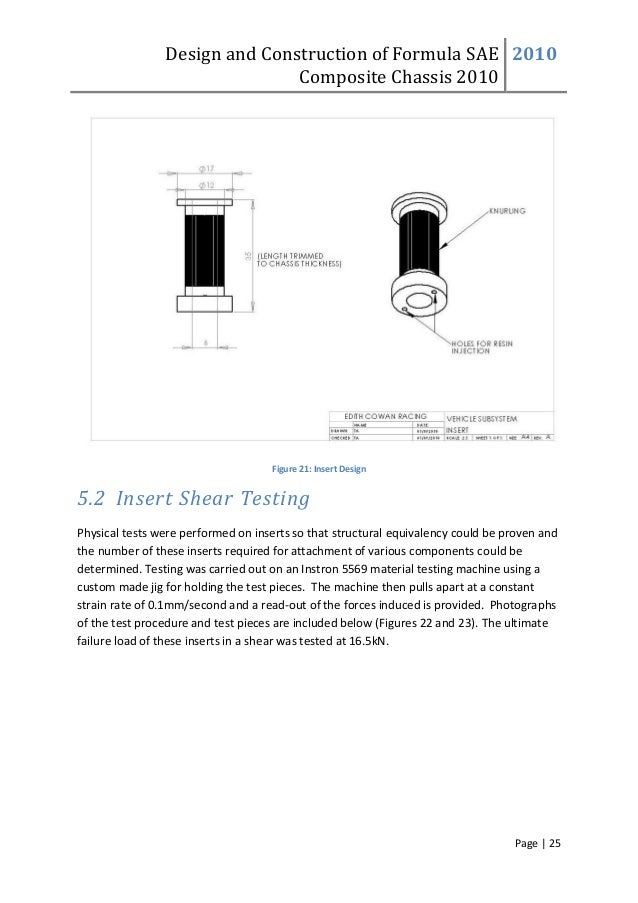Design and Construction of Formula SAE Composite Chassis 2010 2010 Page | 25 Figure 21: Insert Design 5.2 Insert Shear Tes...