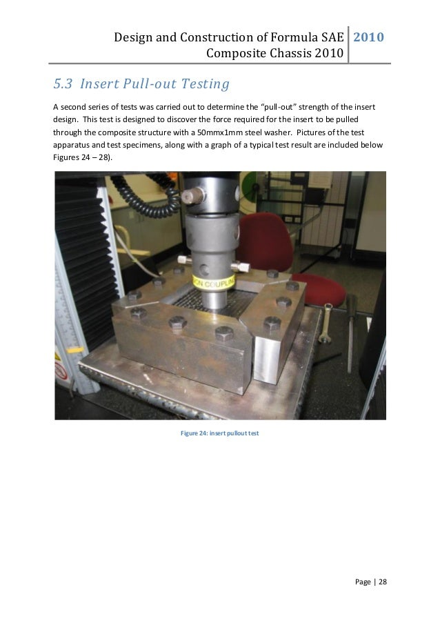 Design and Construction of Formula SAE Composite Chassis 2010 2010 Page | 28 5.3 Insert Pull-out Testing A second series o...