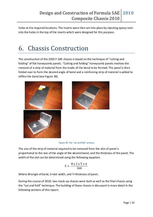 Design and Construction of Formula SAE Composite Chassis 2010 2010 Page | 32 holes at the required locations. The inserts ...