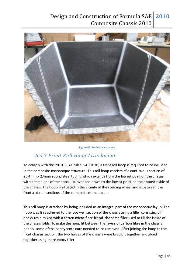 Design and Construction of Formula SAE Composite Chassis 2010 2010 Page | 45 Figure 46: Folded rear chassis 6.3.3 Front Ro...
