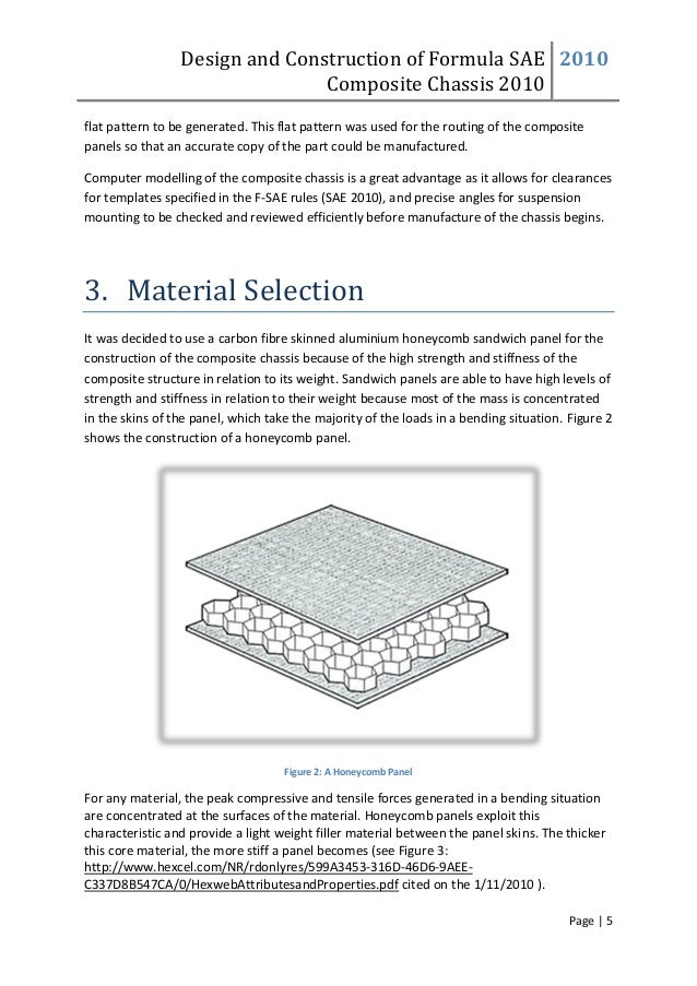 Design and Construction of Formula SAE Composite Chassis 2010 2010 Page | 5 flat pattern to be generated. This flat patter...