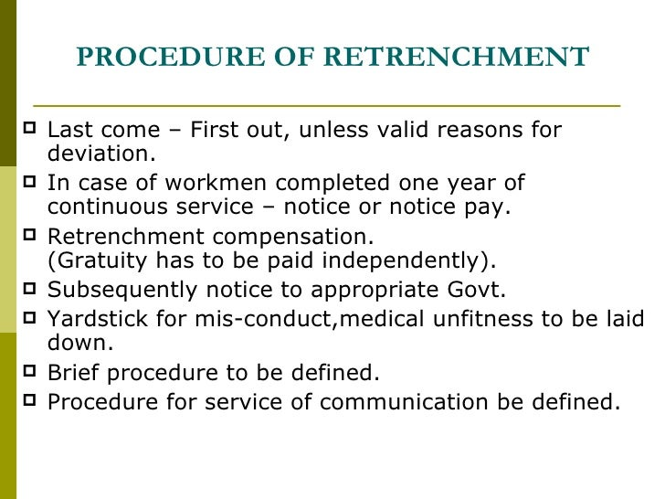 retrenchment notice Employment retrenchment guideline retrenchment: faqs consultation defects occur in the retrenchment process what is the basic process an employer must follow with regard to a large scale retrenchment (with facilitation) notice in terms of s189(3.