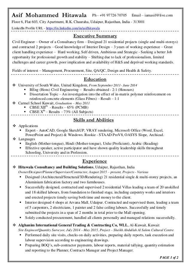 Civil Engineer Pdf. Asif Mohammed Hitawala Ph +91 97726 70705 Email .