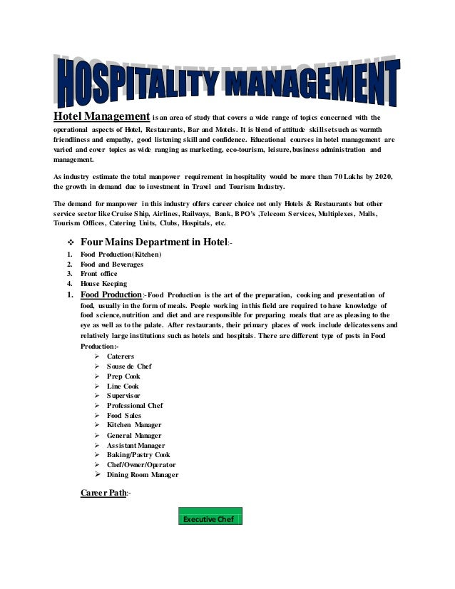 Hospitality Industry Introduction And Career