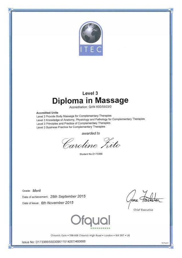 Caroline Zito ITEC Diploma