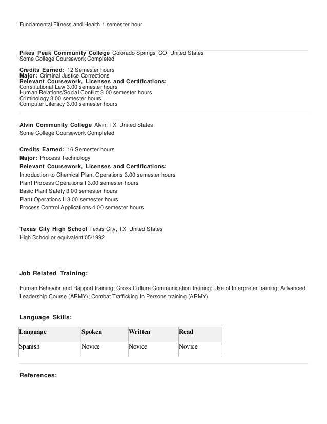 Resume With Some College Showing Relevant Coursework Resume