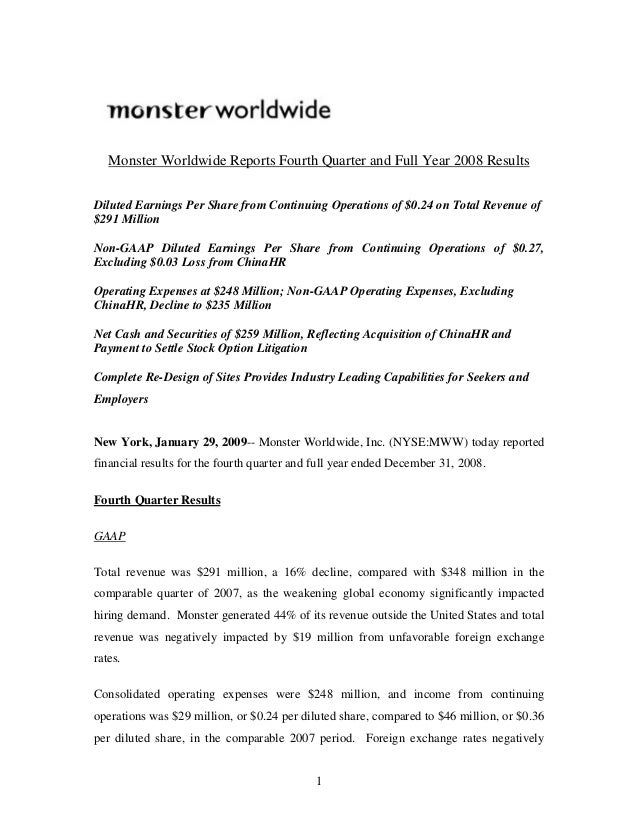 Monster Worldwide Reports Fourth Quarter and Full Year 2008 Results Diluted Earnings Per Share from Continuing Operations ...