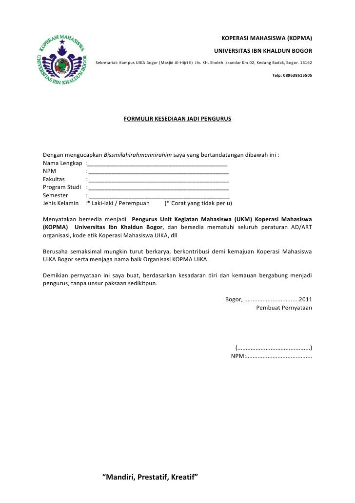 Surat Pernyatan Kesediaan Menjadi Penguruskopma Uika