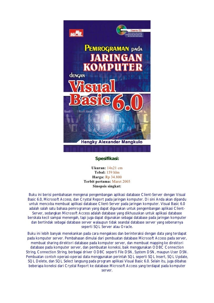 Spesifikasi:                                       Ukuran: 14x21 cm                                         Tebal: 159 hlm...