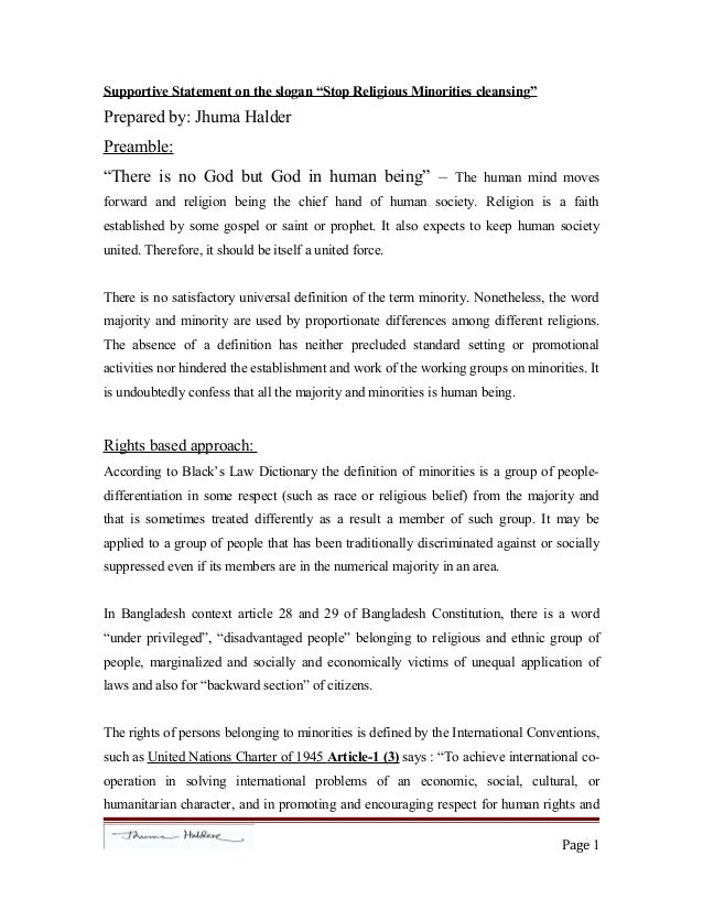 """Supportive Statement on the slogan """"Stop Religious Minorities cleansing"""" Prepared by: Jhuma Halder Preamble: """"There is no ..."""