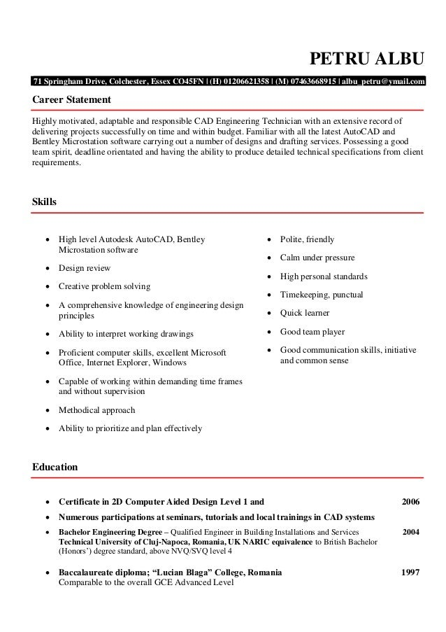 Entry Level Cad Drafter Cover Letter