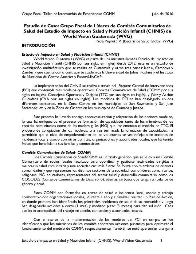 Grupo Focal: Taller de Intercambio de Experiencias COMM julio del 2016 Estudio de Impacto en Salud y Nutrición Infantil (C...