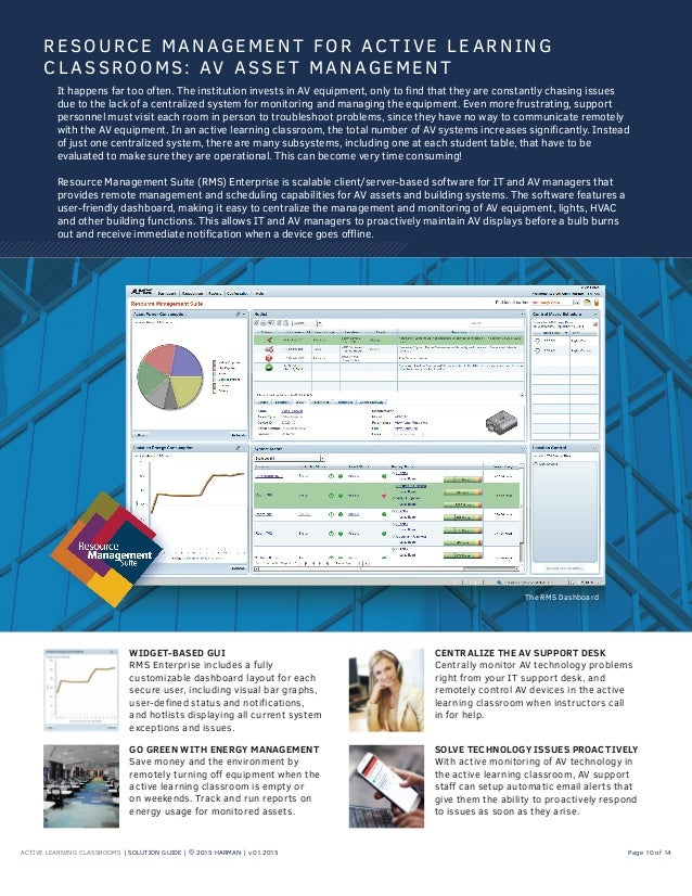 ACTIVE LEARNING CLASSROOMS | SOLUTION GUIDE | © 2015 HARMAN | v.01.2015 Page 10 of 14 WIDGET-BASED GUI RMS Enterprise incl...