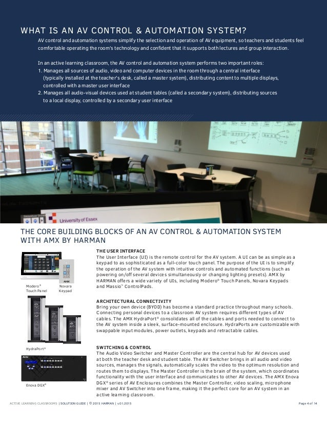 ACTIVE LEARNING CLASSROOMS | SOLUTION GUIDE | © 2015 HARMAN | v.01.2015 Page 4 of 14 WHAT IS AN AV CONTROL & AUTOMATION SY...