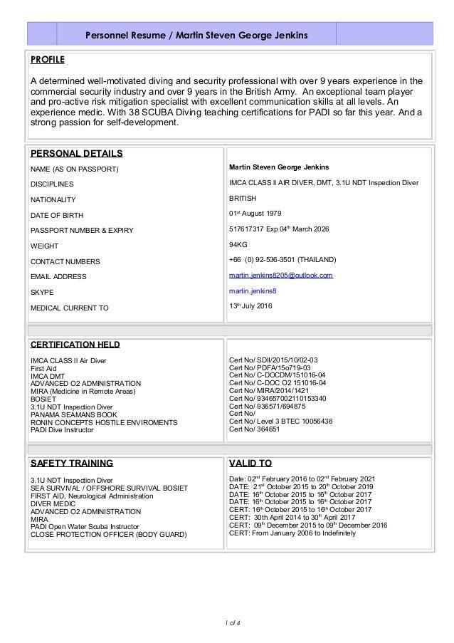 Dive instructor resume