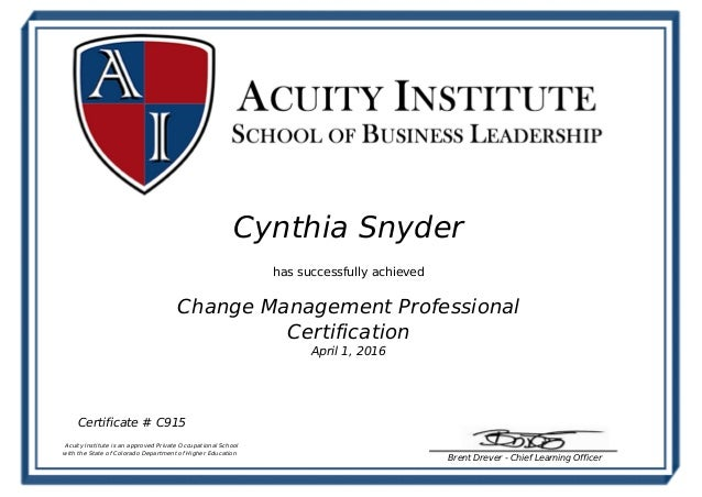 Cynthia Snyder Change Management Certification Certificate