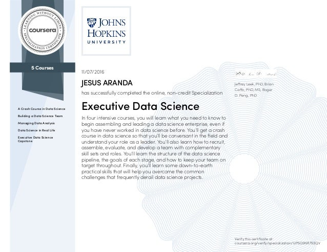 Coursera EXECUTIVE DATA SCIENCE title