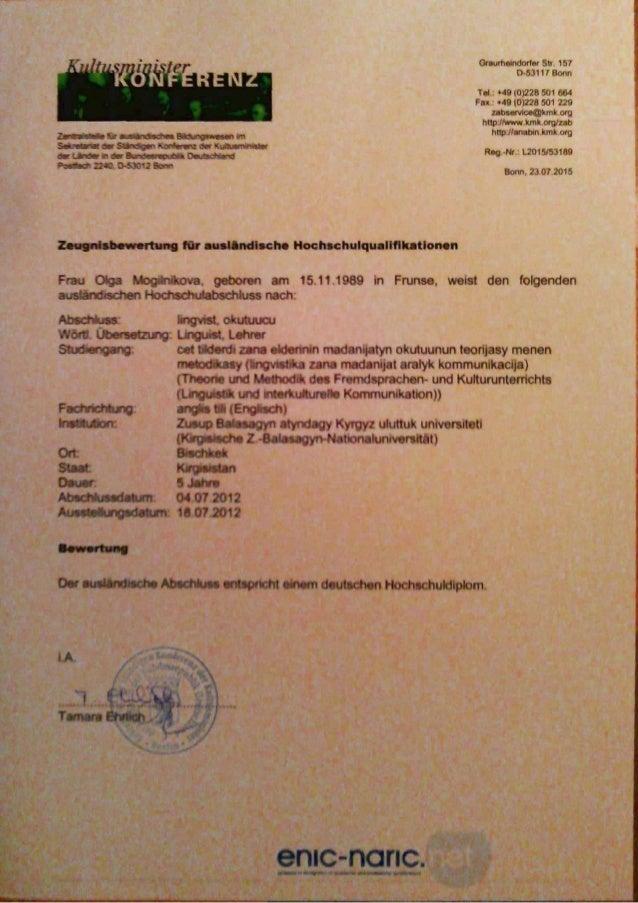 ZEUGNISBEWERUNG FÜR AUSLÄNDISCHE HOCHSCHULQUALIFIKATIONEN