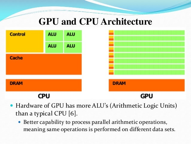  Hardware of GPU has more ALU's (Arithmetic Logic Units) than a typical CPU [6].  Better capability to process parallel ...