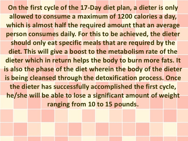 The Four Cycles Of The 17 Day Diet Plan
