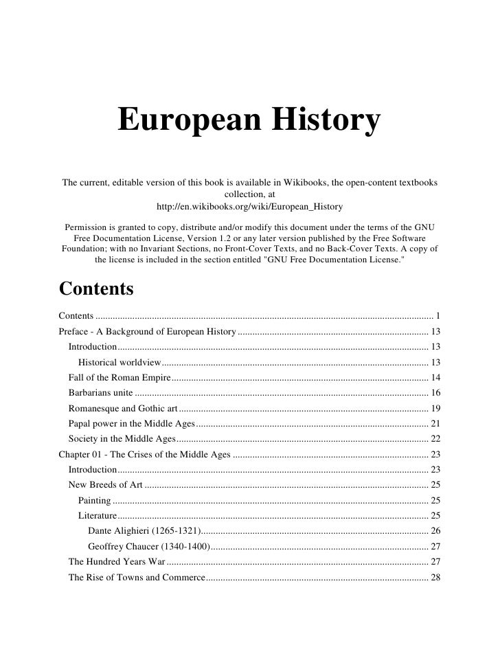European History The current, editable version of this book is available in Wikibooks, the open-content textbooks         ...