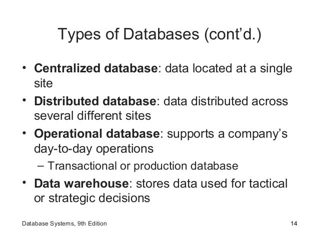 Types of Databases (cont'd.) • Centralized database: data located at a single site • Distributed database: data distribute...