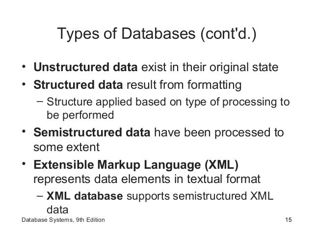 Types of Databases (cont'd.) • Unstructured data exist in their original state • Structured data result from formatting – ...