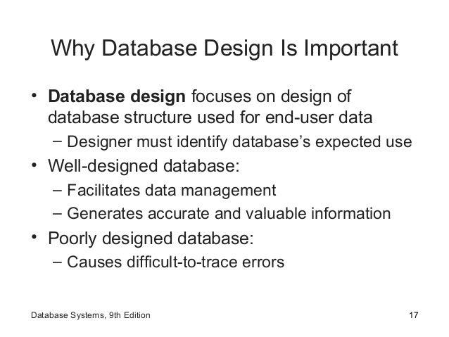 Why Database Design Is Important • Database design focuses on design of database structure used for end-user data – Design...