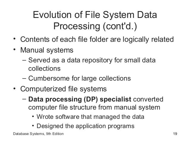 Evolution of File System Data Processing (cont'd.) • Contents of each file folder are logically related • Manual systems –...