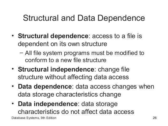 Structural and Data Dependence • Structural dependence: access to a file is dependent on its own structure – All file syst...