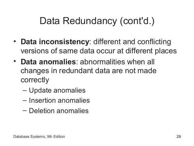 Data Redundancy (cont'd.) • Data inconsistency: different and conflicting versions of same data occur at different places ...